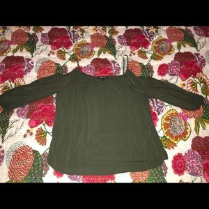 Express Cold Shoulder Top-Olive